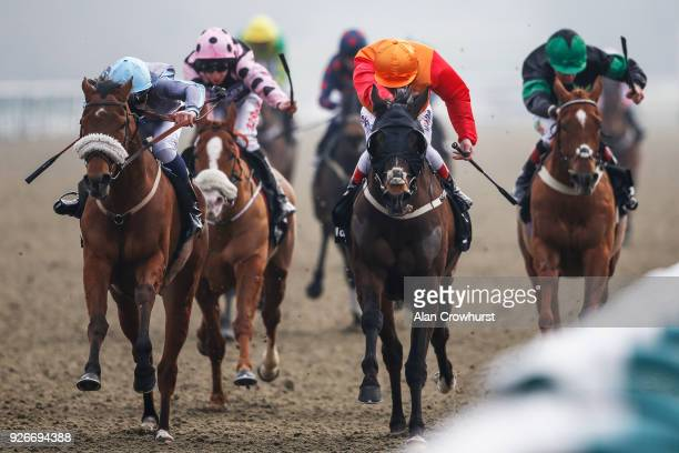 PierreLouis Jamin riding Attain win The Betway Casino Handicap Stakes at Lingfield Park racecourse on March 3 2018 in Lingfield England