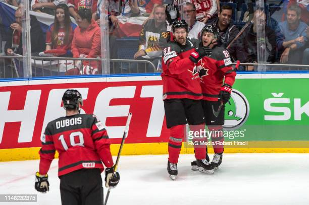 PierreLuc Dubois of Canada celebrates his goal with teammates during the 2019 IIHF Ice Hockey World Championship Slovakia semi final game between...