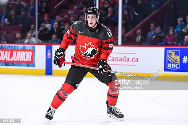 PierreLuc Dubois of Team Canada looks on as he skates during the IIHF exhibition game against Team Finland at the Bell Centre on December 19 2016 in...
