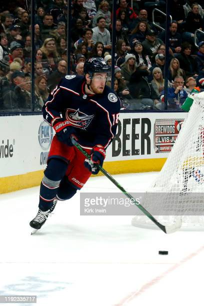 Pierre-Luc Dubois of the Columbus Blue Jackets controls the puck during the game against the New York Rangers on December 5, 2019 at Nationwide Arena...