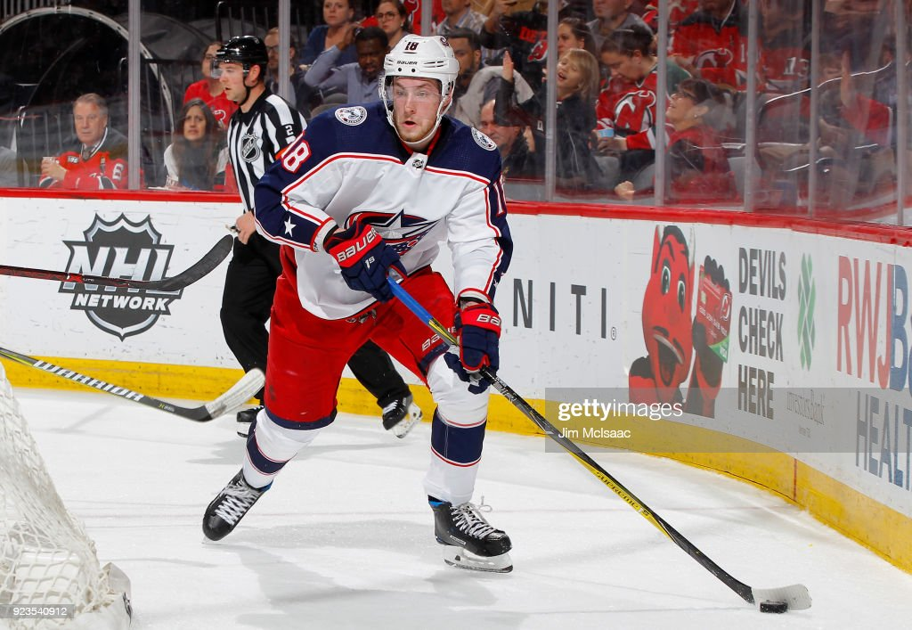 low priced d22b4 482db Pierre-Luc Dubois of the Columbus Blue Jackets in action ...