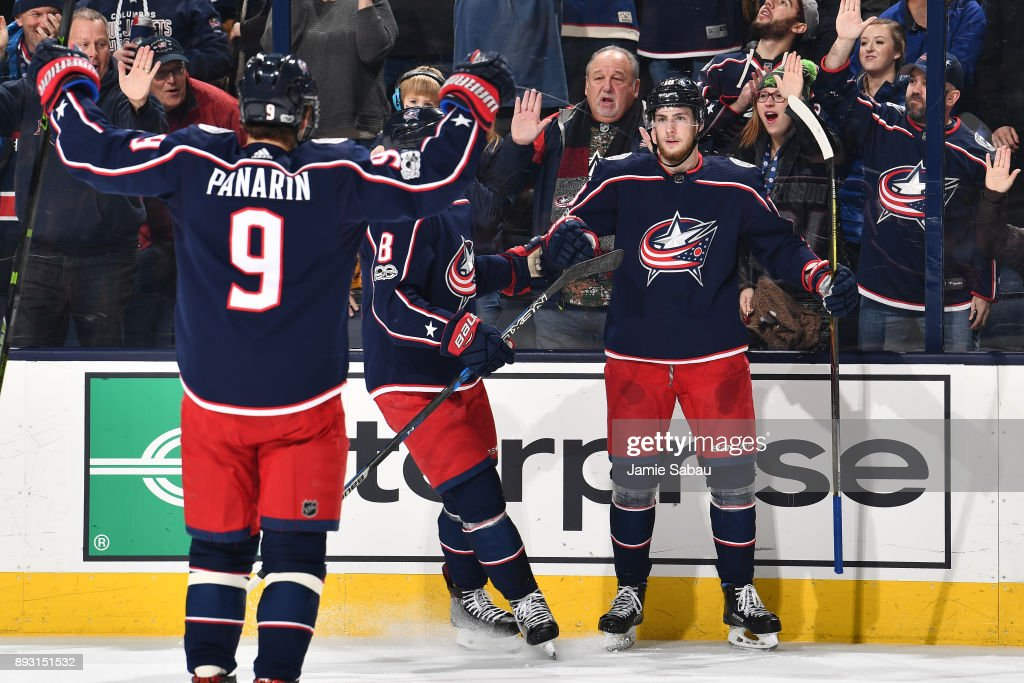 Pierre-Luc Dubois #18 of the Columbus Blue Jackets reacts after scoring a goal during the first period of a game against the New York Islanders on December 14, 2017 at Nationwide Arena in Columbus, Ohio.