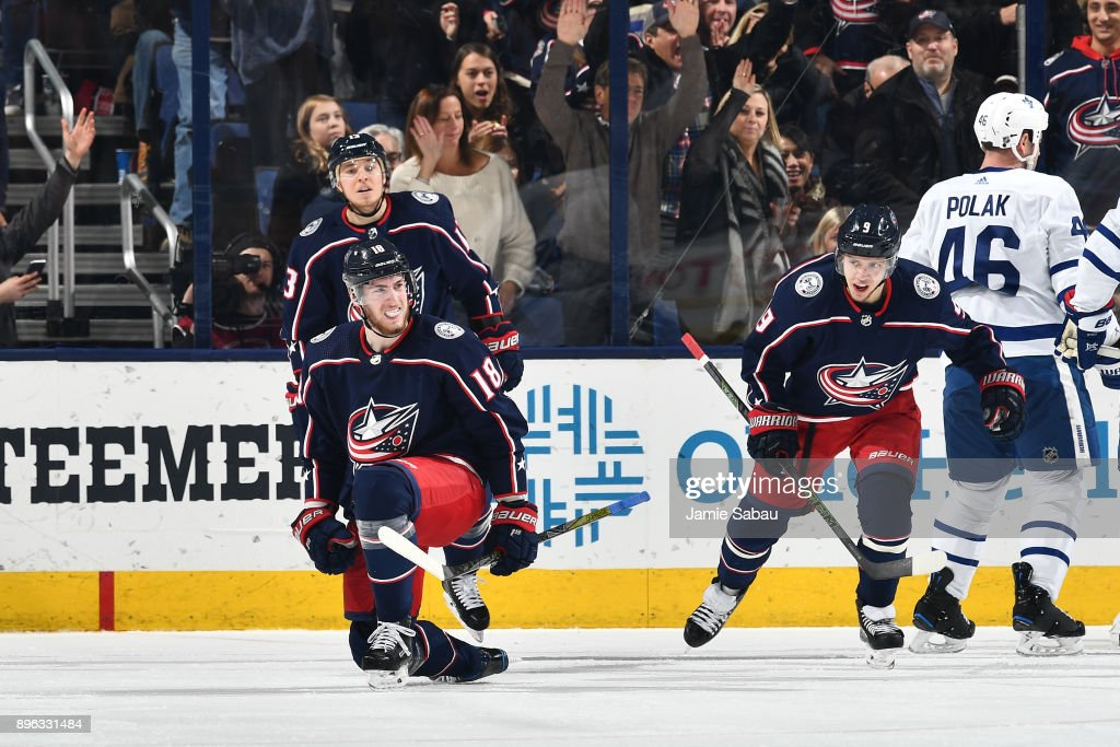 Pierre-Luc Dubois #18 of the Columbus Blue Jackets reacts after scoring a goal during the second period of a game against the Toronto Maple Leafs on December 20, 2017 at Nationwide Arena in Columbus, Ohio.
