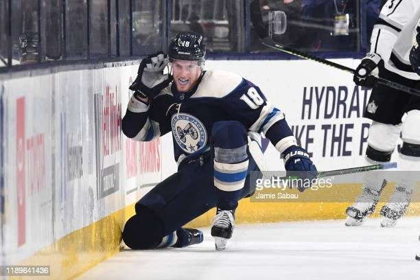 Pierre-Luc Dubois of the Columbus Blue Jackets reacts after scoring the game-winning overtime goal during a game against the Los Angeles Kings on...