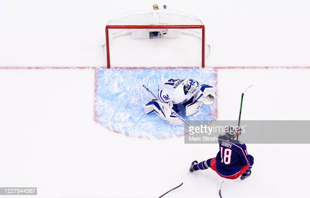 Pierre-Luc Dubois of the Columbus Blue Jackets scores the game winning goal and his third goal of the night against Frederik Andersen of the Toronto...