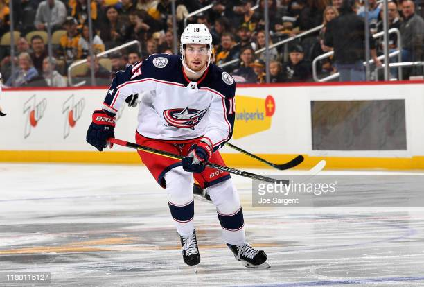 Pierre-Luc Dubois of the Columbus Blue Jackets skates against the Pittsburgh Penguins at PPG PAINTS Arena on October 5, 2019 in Pittsburgh,...