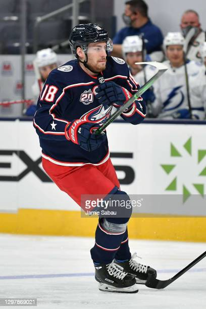 Pierre-Luc Dubois of the Columbus Blue Jackets skates against the Tampa Bay Lightning on January 21, 2021 at Nationwide Arena in Columbus, Ohio.