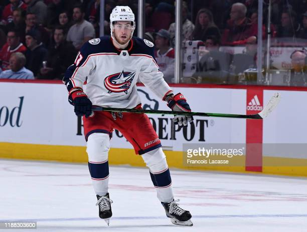 Pierre-Luc Dubois of the Columbus Blue Jackets skates against the Montreal Canadiens in the NHL game at the Bell Centre on November 12, 2019 in...