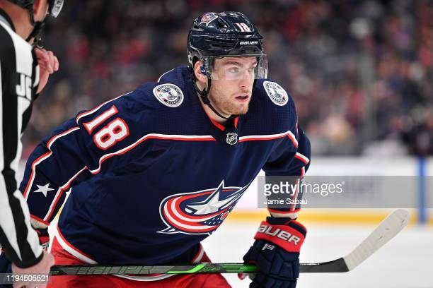 Pierre-Luc Dubois of the Columbus Blue Jackets skates against the Washington Capitals on December 16, 2019 at Nationwide Arena in Columbus, Ohio.