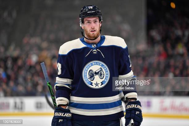 Pierre-Luc Dubois of the Columbus Blue Jackets skates against the Philadelphia Flyers on February 20, 2020 at Nationwide Arena in Columbus, Ohio.