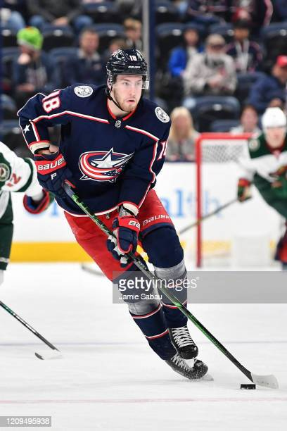 Pierre-Luc Dubois of the Columbus Blue Jackets skates against the Minnesota Wild on February 28, 2020 at Nationwide Arena in Columbus, Ohio.