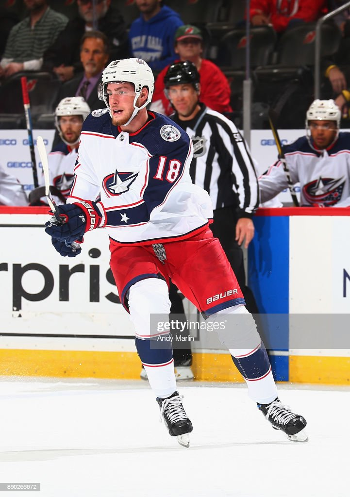 Pierre-Luc Dubois #18 of the Columbus Blue Jackets skates during the game against the New Jersey Devils at Prudential Center on December 8, 2017 in Newark, New Jersey.