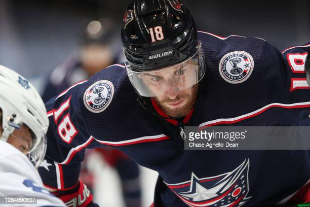 Pierre-Luc Dubois of the Columbus Blue Jackets waits for the face off against the Toronto Maple Leafs during the second period of Game Four of the...