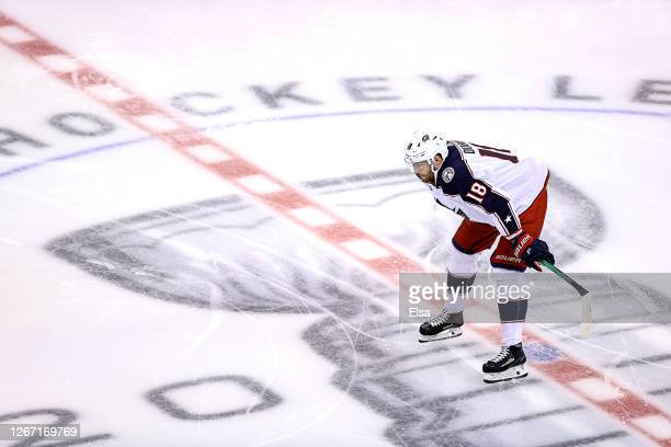 Pierre-Luc Dubois of the Columbus Blue Jackets warms up prior to Game Five of the Eastern Conference First Round against the Tampa Bay Lightning...