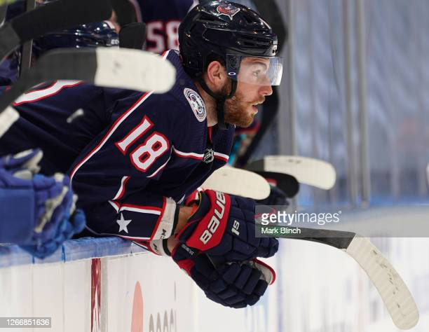 Pierre-Luc Dubois of the Columbus Blue Jackets watches the play against the Tampa Bay Lightning during the first period of Game Four of the Eastern...
