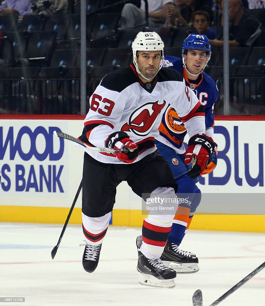 Pierre-Luc Letourneau-Leblond #63 of the New Jersey Devils skates against the New York Islanders at the Barclays Center on September 23, 2015 in the Brooklyn borough of New York City. The Islanders defeated the Devils 2-1.