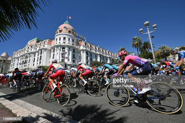 Pierre-Luc Perichon of France and Team Cofidis Solutions Credits / Neilson Powless of The United States and Team EF Pro Cycling / Le Negresco Hotel /...