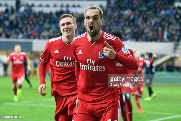 PierreMichel Lasogga celebrates scoring during the DFB Cup match between SC Paderborn 07 and Hamburger SV at Benteler Arena on April 02 2019 in...