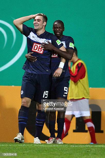 PierreMichel Lasogga celebrates the second goal with Andrián Ramos of Berlin during the second round DFB Cup match between RotWeiss Essen and Hertha...