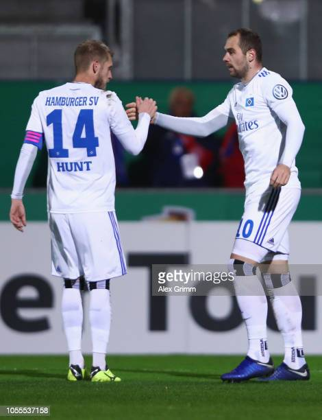 PierreMichel Lasogga of Hamburg celebrates after scoring his team's second goal with Aaron Hunt of Hamburg during the DFB Cup second round match...