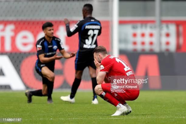 PierreMichel Lasogga of Hamburg looks dejected after the Second Bundesliga match between SC Paderborn 07 and Hamburger SV at Benteler Arena on May 12...