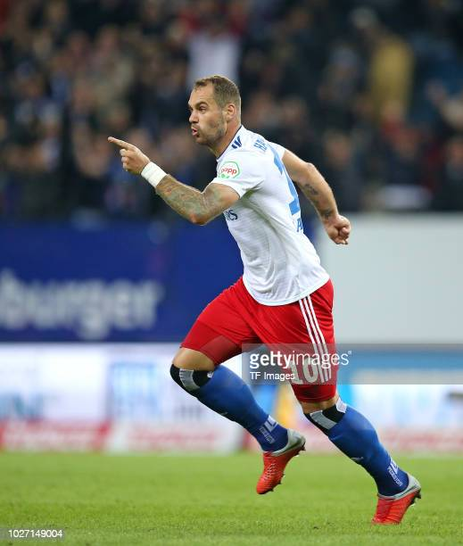 PierreMichel Lasogga of Hamburger SV celebrates after scoring his team`s second goal during the Second Bundesliga match between Hamburger SV and DSC...