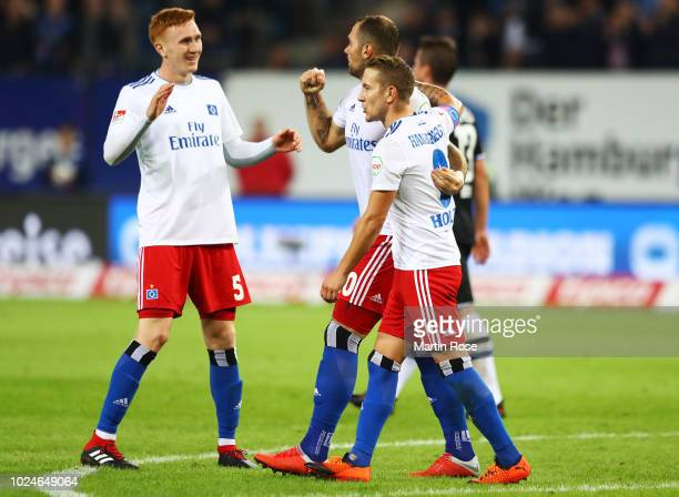 PierreMichel Lasogga of Hamburger SV celebrates scoring the third goal with Lewis Holtby of Hamburger SV during the Second Bundesliga match between...