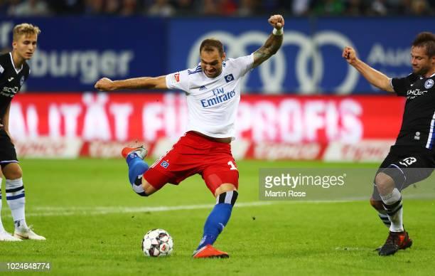 PierreMichel Lasogga of Hamburger SV scores a goal during the Second Bundesliga match between Hamburger SV and DSC Arminia Bielefeld at...