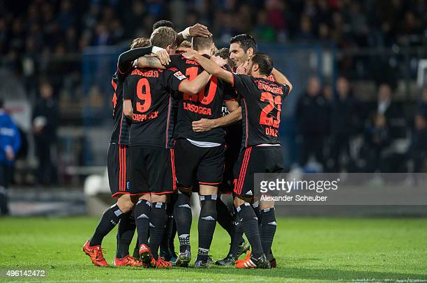 PierreMichel Lasogga of Hamburger SV scores the first goal for his team and celebrate with Sven Schipplock of Hamburger SV Marcelo Diaz of Hamburger...