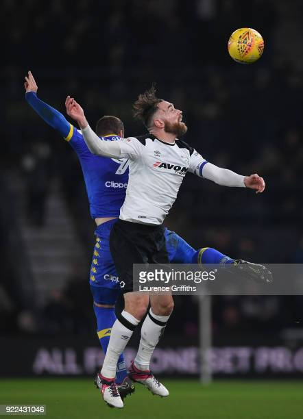 PierreMichel Lasogga of Leeds battles Richard Keogh of Derby County during the Sky Bet Championship match between Derby County and Leeds United at...