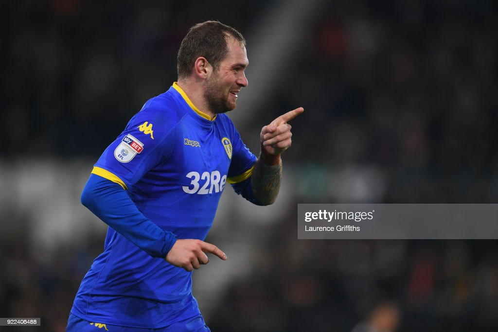 Pierre-Michel Lasogga of Leeds celebrates scoring to make it 1-0 during the Sky Bet Championship match between Derby County and Leeds United at iPro Stadium on February 21, 2018 in Derby, England.