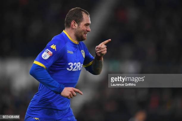 PierreMichel Lasogga of Leeds celebrates scoring to make it 10 during the Sky Bet Championship match between Derby County and Leeds United at iPro...