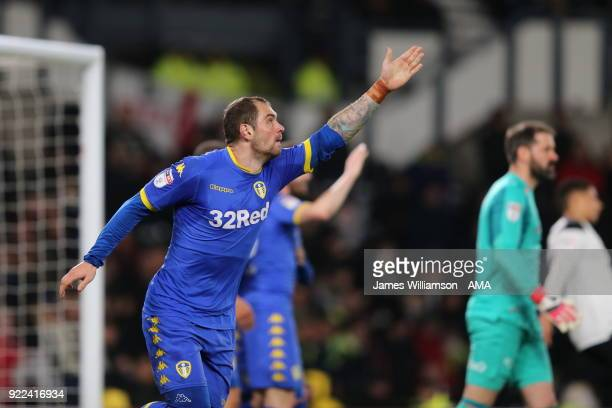 PierreMichel Lasogga of Leeds United celebrates after scoring a goal to make it 10 during the Sky Bet Championship match between Derby County and...