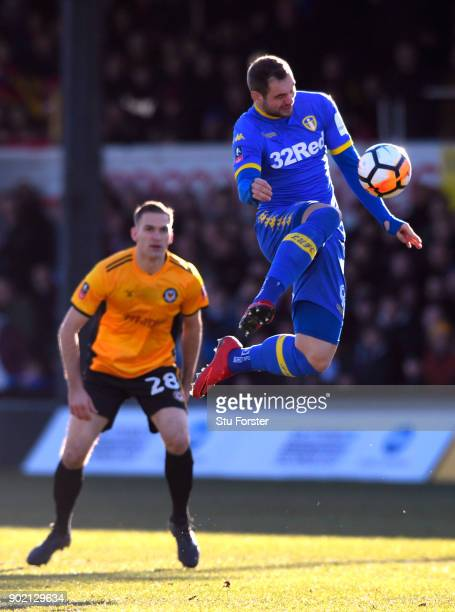 PierreMichel Lasogga of Leeds United controlls the ball during The Emirates FA Cup Third Round match between Newport County and Leeds United at...