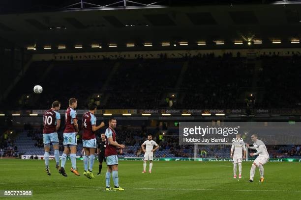 PierreMichel Lasogga of Leeds United takes a free kick during the Carabao Cup Third Round match between Burnley and Leeds United at Turf Moor on...
