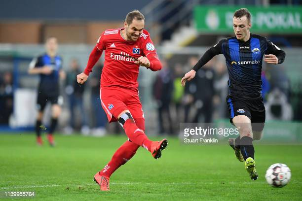 PierreMichel Lasogga scores his second goal during the DFB Cup match between SC Paderborn 07 and Hamburger SV at Benteler Arena on April 02 2019 in...