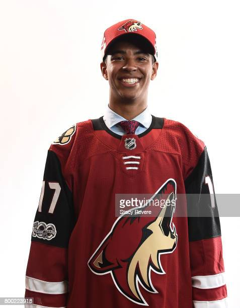PierreOlivier Joseph poses for a portrait after being selected 23rd overall by the Arizona Coyotes during the 2017 NHL Draft at the United Center on...