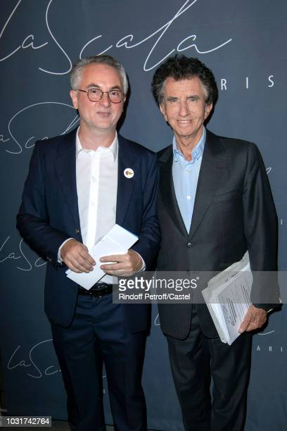 PierreYves Lenoir and Jack Lang attend 'La Scala' reopens on September 11 2018 in Paris France