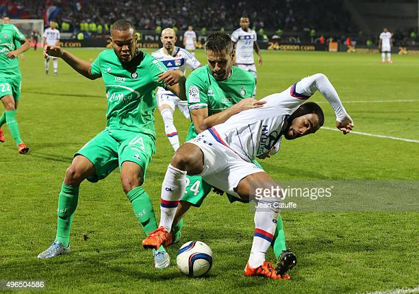 PierreYves Polomat Loic Perrin of SaintEtienne and Alexandre Lacazette of Lyon in action during the French Ligue 1 match between Olympique Lyonnais...