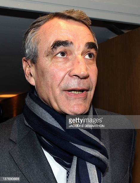 PierreYves Revol the chairman of the Ligue nationale de Rugby arrives to hear Toulon rugby union club president Mourad Boudjellal as he appears...