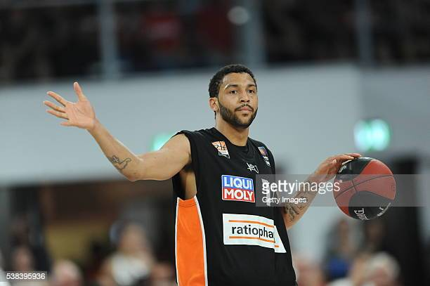 Pierria Henry dribbles the ball during the BEKO BBL Final game 1 between Brose Baskets Bamberg and ratipopharm Ulm at Brose Arena on June 5 2016 in...