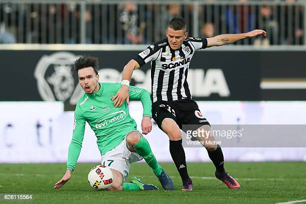 Pierrick Capelle of Angers and Ole Kristian Selnaes of SaintEtienne during the French Ligue 1 match between Angers and Saint Etienne on November 27...