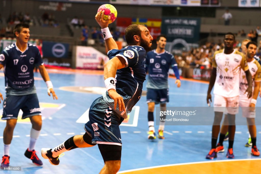 Pierrick Chelle of Toulouse during Lidl Star Ligue match between Fenix Toulouse and Pays D'aix Universite Club on September 13, 2017 in Toulouse, France.