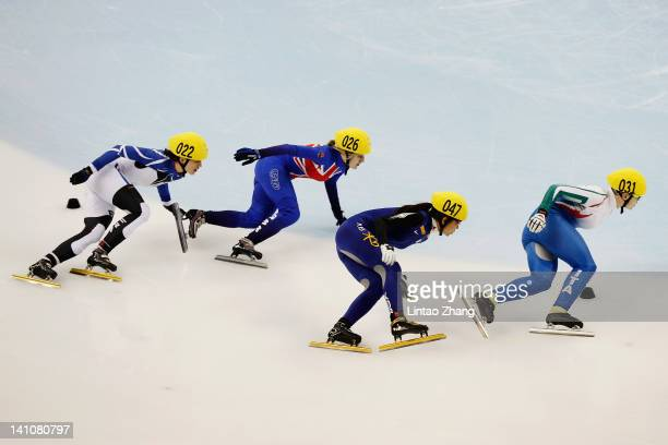 Pierron Veronique of France Elise Christie of Great Britain Cho HaRi of Korea and Fontana Arianna of Italy compete in the Women's 500m Semi final...