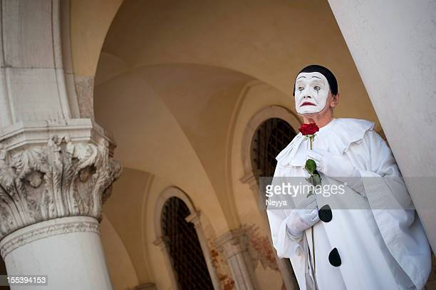 pierrot at venice carnival 2012 - sad clown stock photos and pictures