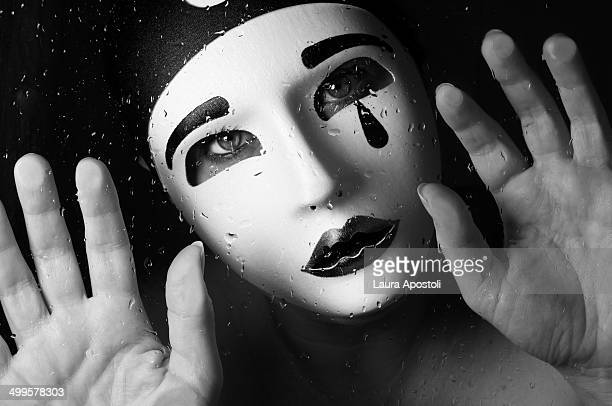 pierrot - sad clown stock photos and pictures