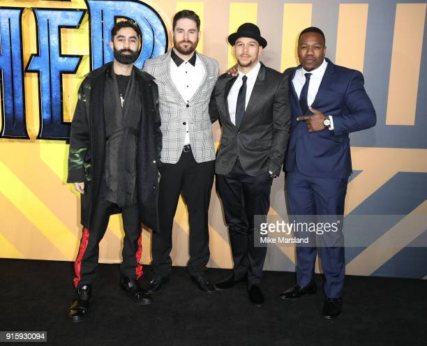 Piers Agget Amir Amor Kesi Dryden and DJ Locksmith members of Rudimental attend the European Premiere of 'Black Panther' at Eventim Apollo on...