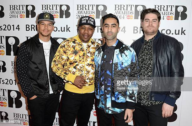 Piers Agget DJ Locksmith Amir Amor and Kesi Dryden of Rudimental attend the BRIT awards nominations at ITV Studios on January 9 2014 in London England