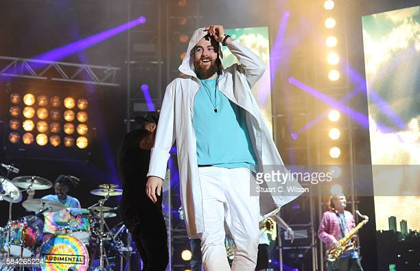 Piers Agget of Rudimental perform during 'MTV Crashes' at Plymouth Hoe on July 28 2016 in Plymouth England
