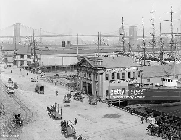 Piers Along South Street with Brooklyn Bridge in Background, New York City, USA, circa 1908.